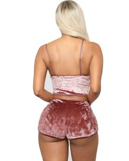 Velvet Crop Tops and Panty Sexy Sleepwear