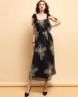 Vintage Bow Tie Star Printed Ruffles Elegant Party Long Dress