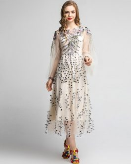 Vintage Floral Embroidery Long Sleeve Party Dress