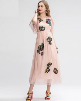 Vintage Floral Embroidery Ruffles Sleeve Long Elegant Dress