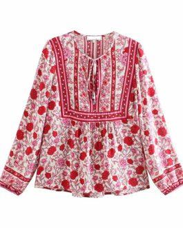 Vintage Floral Printed V-Neck Lace-Up Bohemian Blouse