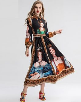 Vintage Long Sleeve Gorgeous Painting Queen Print  Elegant dress