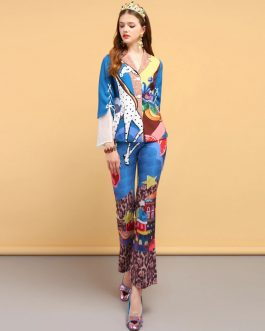 Vintage Printed Shirt and Pants 2 Pieces Set
