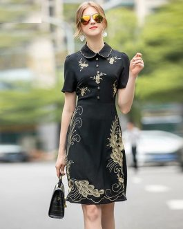 Vintage Short Sleeve  Runway Gold Line Embroidery High Quality Dress