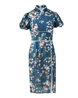 Vintage Side Split High Waist  Floral Print Dress