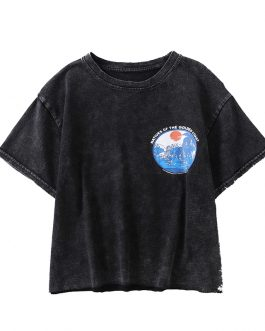 Vintage fashion harajuku old washed o-neck T-shirt