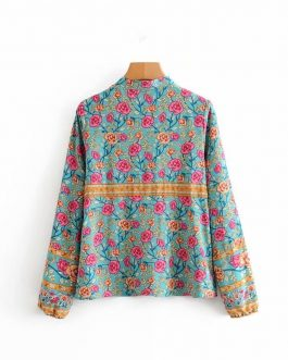 Vintage Floral Printed V-Neck Lace-Up Bohemian Blouse