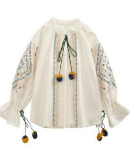 Floral Embroidery Stand Collar Bohemian Shirts