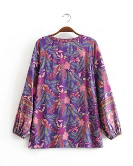 Floral Print Long Sleeve Blouse Shirt