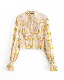 Floral Printed Hollow Out Bohemian Blouse