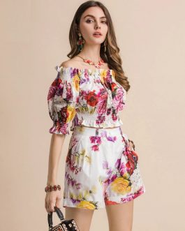 Casual Holiday Floral Print Short Suits