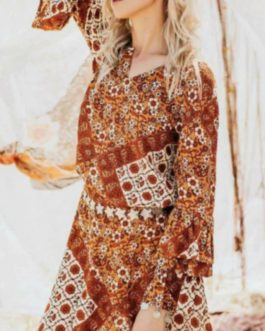 Long Sleeve Floral Print Bohemian Blouse