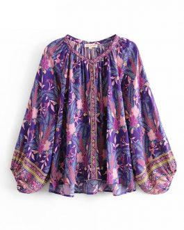 Vintage Floral Printed O-neck Blouse Shirts