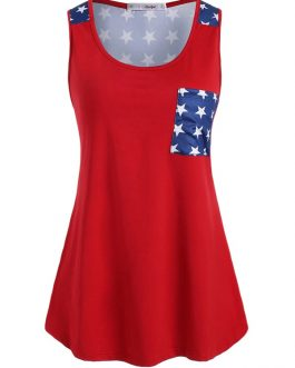 American Flag Print Scoop Neck Sleeveless Tank Top