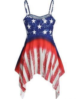 American Flag Sleeveless Long Cami Top