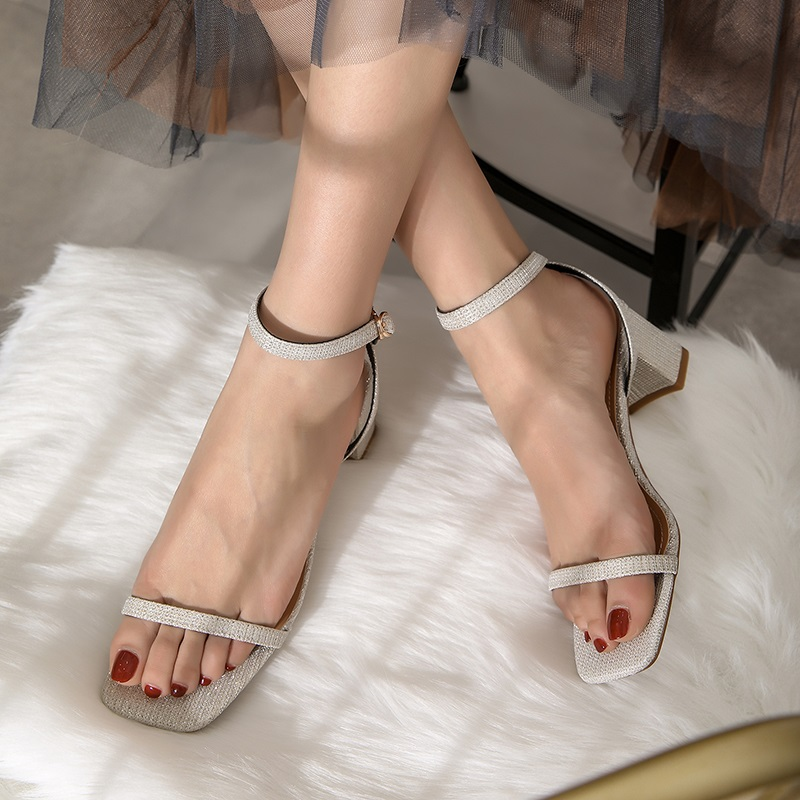 Ankle Strap Party Bling High Heels Thick Sandals 9.1