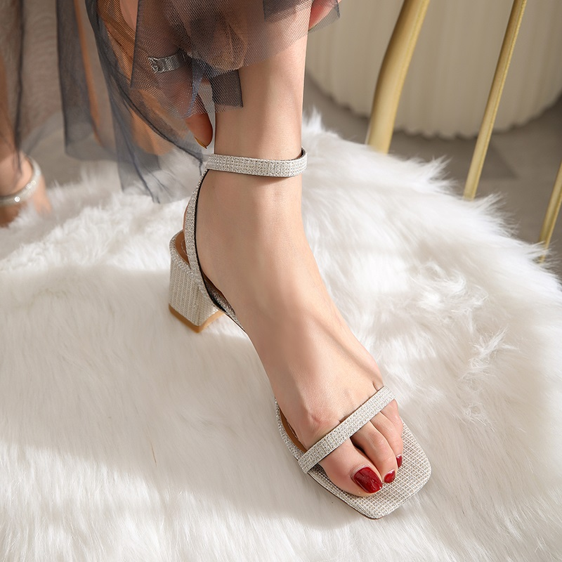 Ankle Strap Party Bling High Heels Thick Sandals 9.2