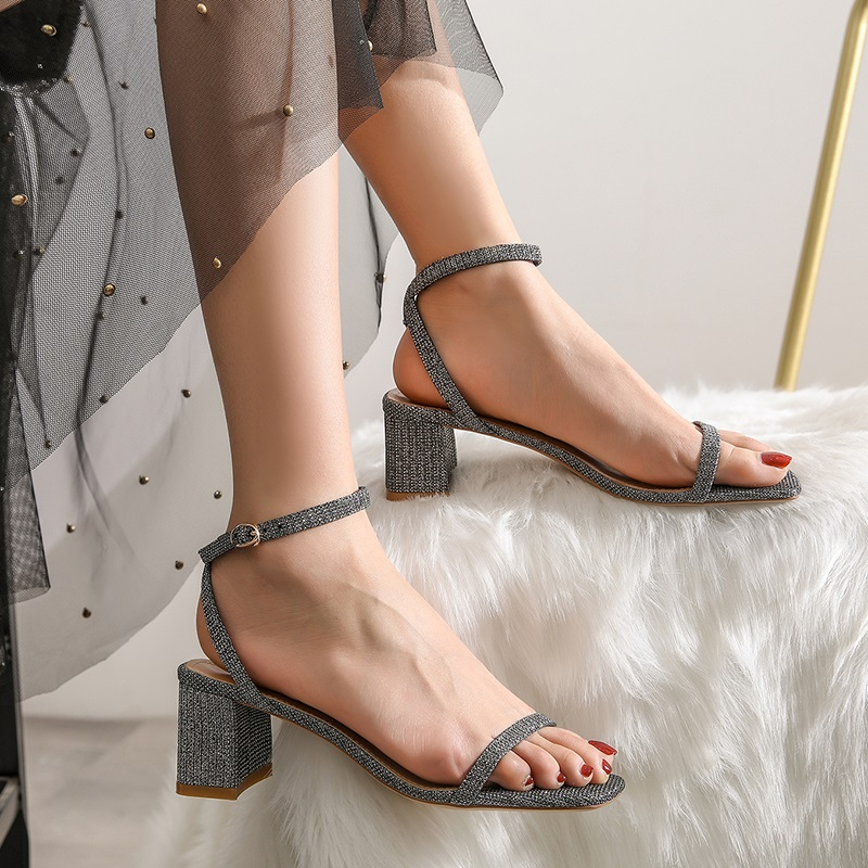 Ankle Strap Party Bling High Heels Thick Sandals 9.3