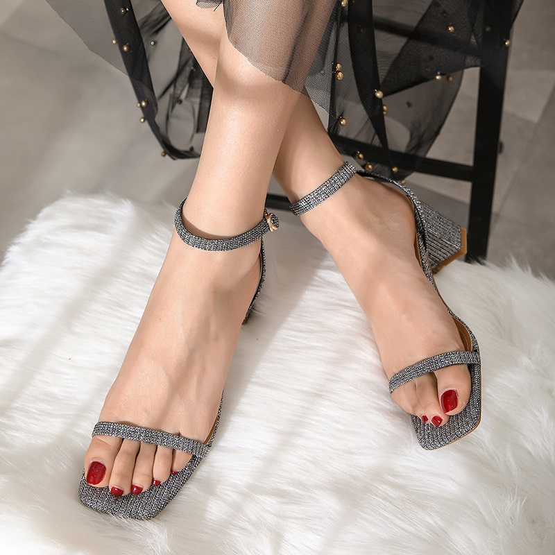 Ankle Strap Party Bling High Heels Thick Sandals 9.4
