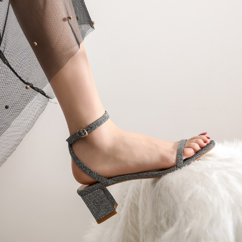Ankle Strap Party Bling High Heels Thick Sandals 9.5