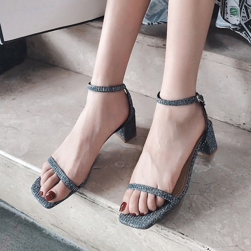 Ankle Strap Party Bling High Heels Thick Sandals 9.6