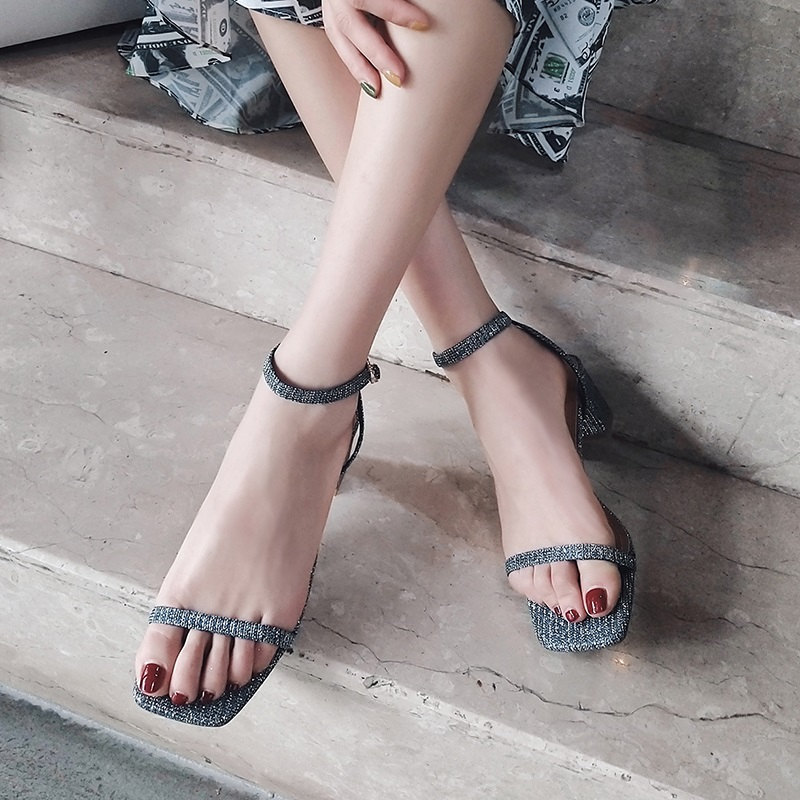 Ankle Strap Party Bling High Heels Thick Sandals 9.7