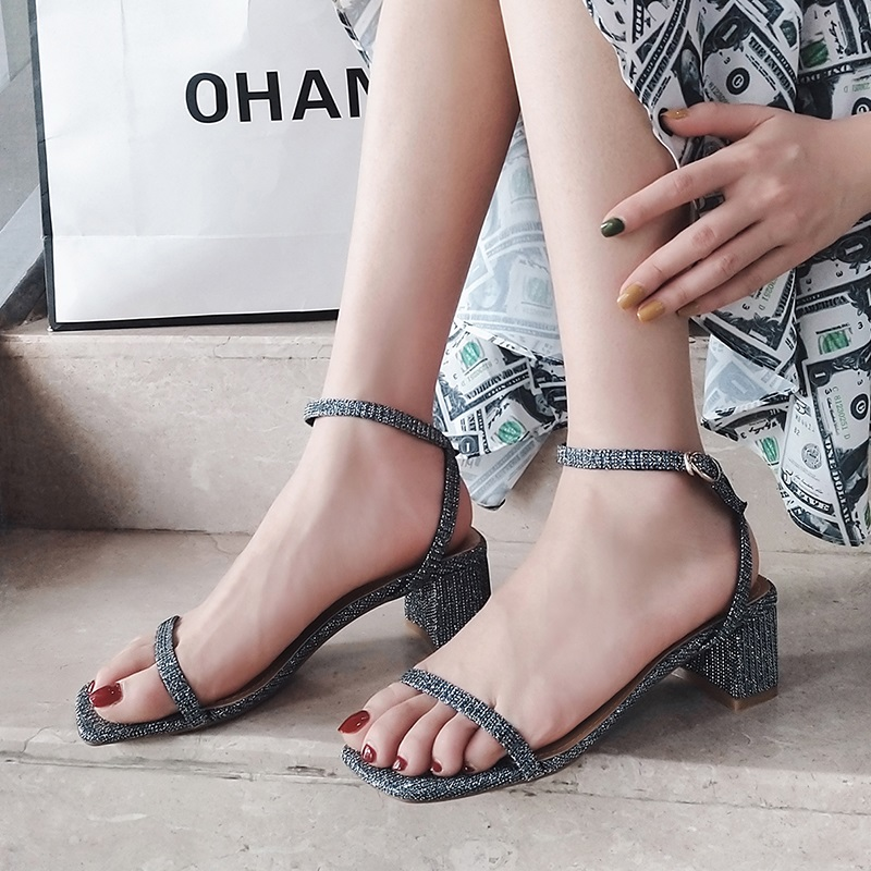 Ankle Strap Party Bling High Heels Thick Sandals 9.8