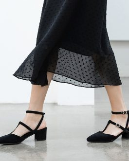 Ankle Strap Square High Heels Sandals