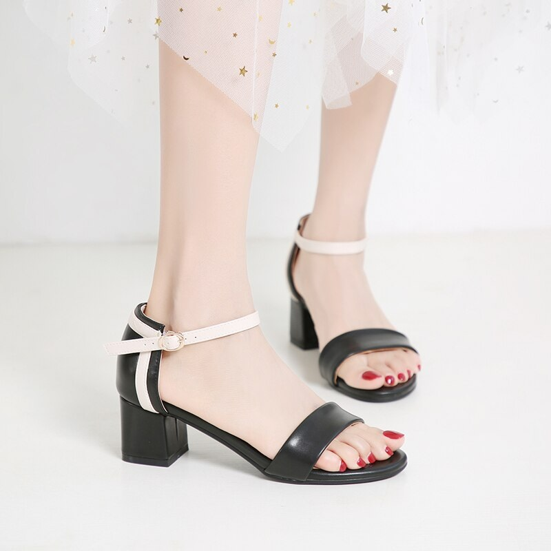 Ankle Strap Stitching Pu Thick High Heels Sandals 9.1
