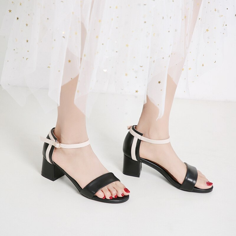 Ankle Strap Stitching Pu Thick High Heels Sandals 9.2