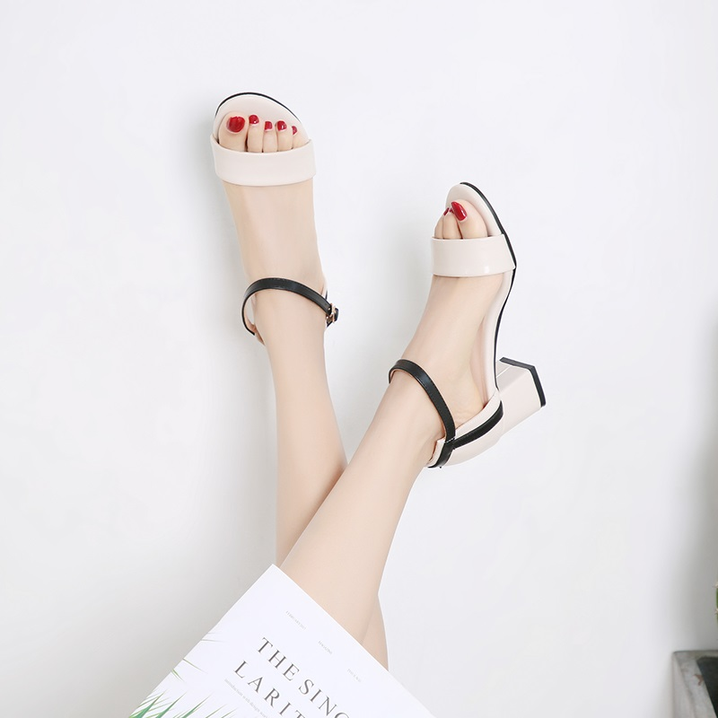 Ankle Strap Stitching Pu Thick High Heels Sandals 9.3