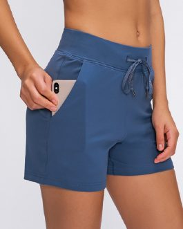 Anti-sweat High Waist Drawstring Running Sport Shorts with Pocket