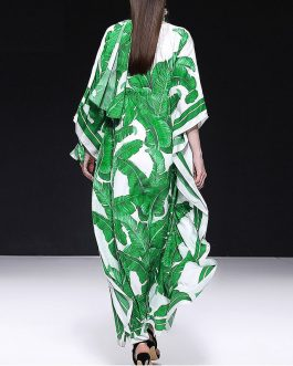 Banana leaf Print Batwing Sleeve Long Maxi Dress
