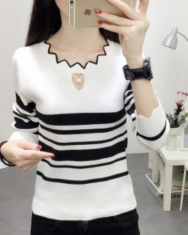 Beautiful Long Sleeve Striped Casual Top