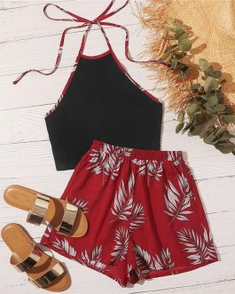 Binding Tie Back Halter Top and Wide Leg Shorts Set