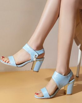 Block Heel Open Toe Sandals