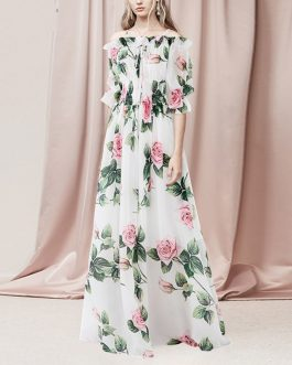 Bohemian Elastic Waist Backless Chiffon Maxi Dress