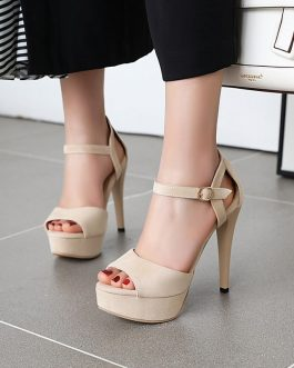 Buckle Strips Peep Toe High Heels Shoes