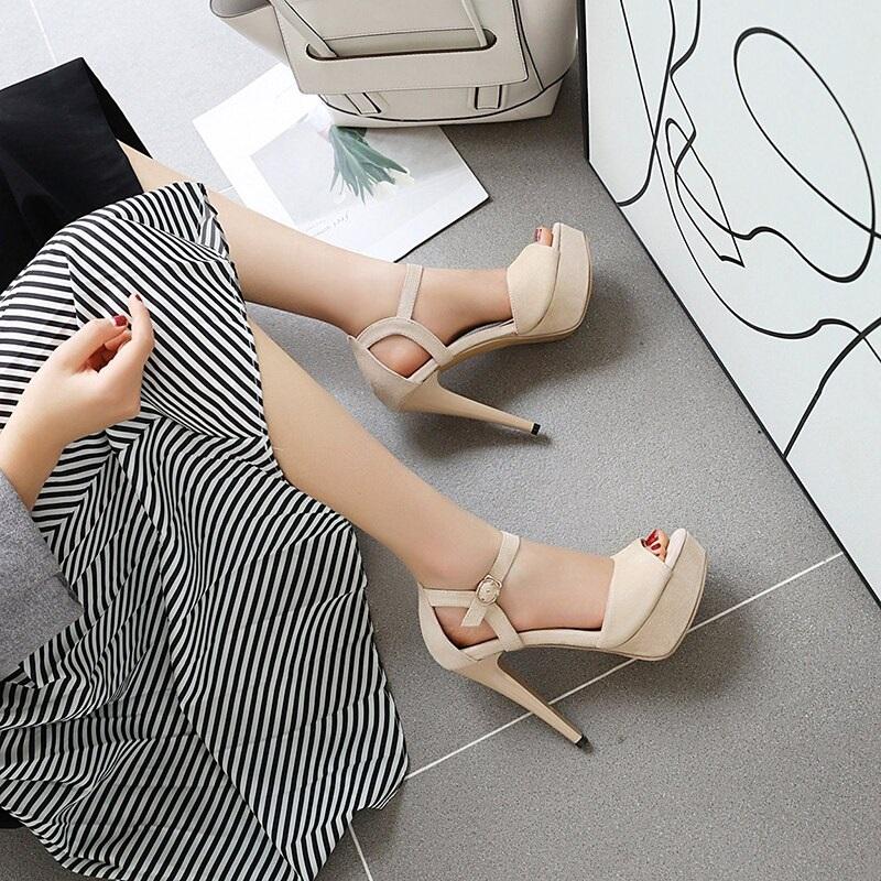 Buckle Strips Peep toe High Heels Shoes 9.3