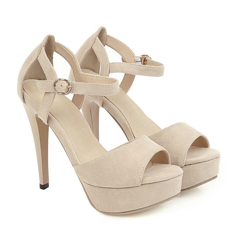 Buckle Strips Peep toe High Heels Shoes 9.5