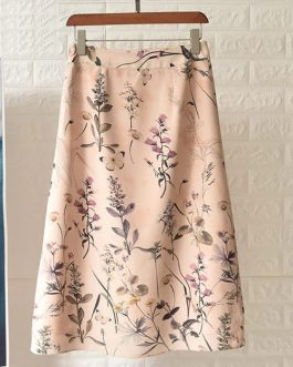 Butterfly Flower Print Silk High Waist A-Line Midi Skirt