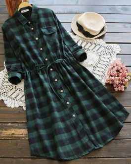 Button Through Drawstring Waist Plaid Shirt Dress