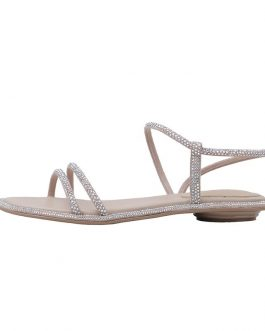 Crystal Diamond Ankle Strap Flat Sandals