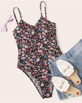 Casual Floral Print Cami Bodysuit