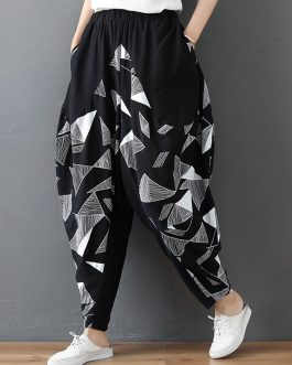 Casual Floral Print High Elastic Waist Pants