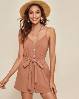 Casual High Waist Button Front Belted Slip Romper