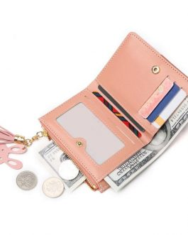 Casual Hit Color Tassel PU Leather Simple Short Wallet