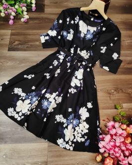 Casual Long Sleeve Printed Mini Dress