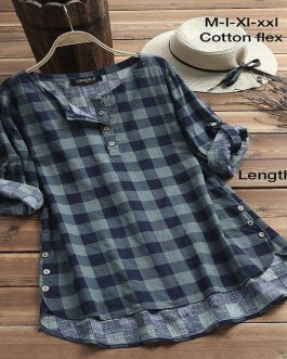 Casual Plaid Long Shirt Dress