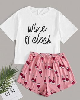 Casual Slogan Graphic Tee + Wine Cup Shorts Sets